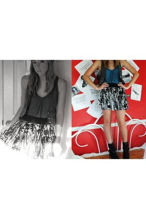 Forever21 skirt - vintage boots - thrift shirt - random vest