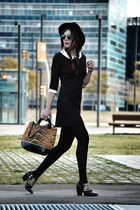 leather Zara shoes - Queens Wardrobe dress - Zara hat - leather Zara bag