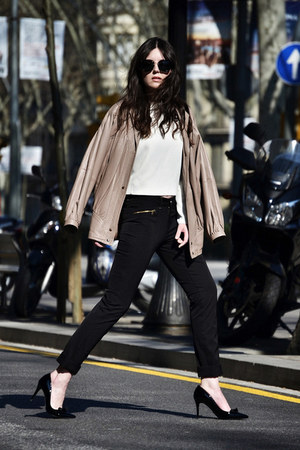 leather vintage jacket - Miu Miu sunglasses - Kleymac pants - Zara top
