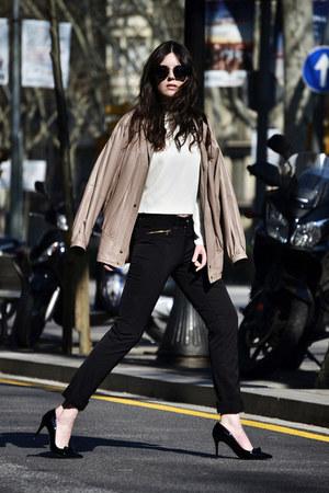 leather vintage jacket - Miu Miu sunglasses - Kleymac pants - Zara top