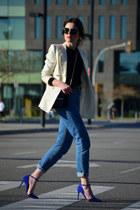 Zara bag - vintage jeans - Mango blazer - Zara top - just fab heels