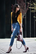 Sheinside blazer - sam edelman shoes - Zara jeans - Furla bag