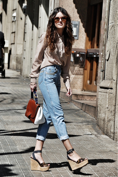 Dolce & Gabbana wedges - rocco barocco jeans - christian dior shirt - Fendi bag