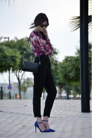 vintage blouse - Mango bag - Fabshoes heels - Massimo Dutti pants