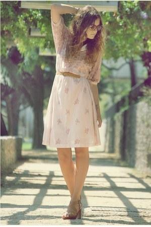 vintage dress - leather new look heels - vintage glasses