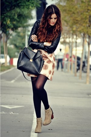 leather Jeffrey Campbell boots - vintage dress - H&M jacket - leather Zara bag