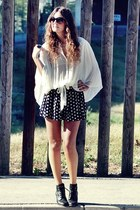 Zara blouse - H&M boots - Forever 21 shorts - house of harlow ring