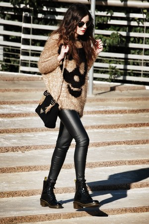 Sheinside sweater - patent leather Dr Martens boots - Zara leggings