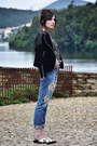 Zara-jeans-leather-mango-jacket-vagabond-sandals-even-odd-top
