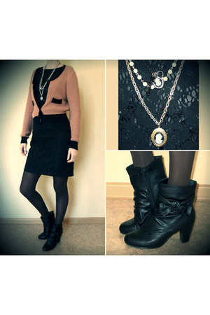black Centro boots - black Oggi dress - burnt orange Vila jacket