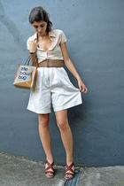 brown bloomingdales bag - beige daniel hechter shorts - brown Bata shoes
