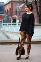 black see trough GinaTricot sweater - gold Zara pants - green Primark heels