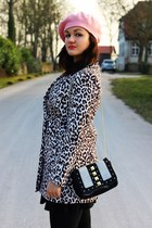 black H&M coat - bubble gum H&M hat - off white H&M bag