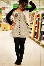 black H&M boots - light blue london dress - ivory Review jacket