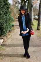 black vintage hat - black cotton H&M blazer - sky blue denim jeans H&M shirt