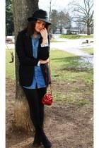 black vintage hat - navy denim jeans H&M shirt
