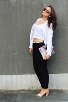 black GinaTricot pants - white Tally Weijl blazer - white GinaTricot top