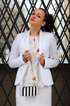 white Tally Weijl blazer - white selfmade skirt - eggshell Zara blouse