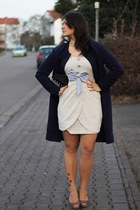 H&M coat - vintage dress - H&M heels