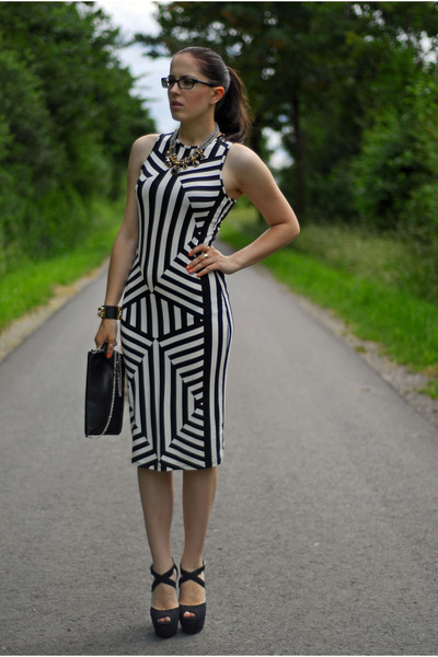white Primark dress - black H&M bag - black Primark heels