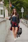 Black-les-eclaires-jacket-ruby-red-les-eclaires-shirt-navy-oasap-jumper