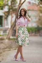 white romwe skirt - light pink romwe blouse