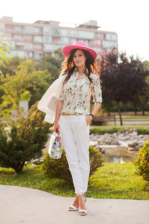 white Zara suit - hot pink River Island hat