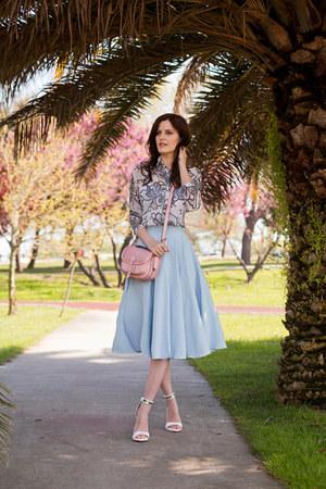 sky blue Chicwish skirt - light pink River Island bag - white Sheinside blouse