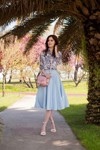 sky blue Chicwish skirt - light pink River Island bag - white Sheinside blouse