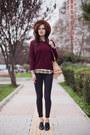 Black-zara-jeans-tan-zara-hat-crimson-sheinside-sweater