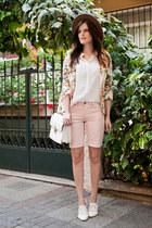 cream Mart of China jacket - white Forever New bag - light pink H&M shorts