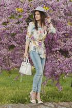 sky blue Zara jeans - white Rebecca Minkoff bag
