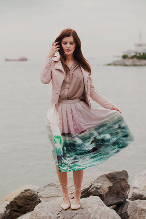 light pink Chicwish skirt - light pink Sheinside jacket