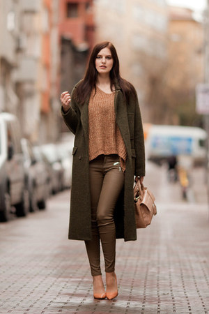 dark green Sheinside coat - bronze Sheinside sweater
