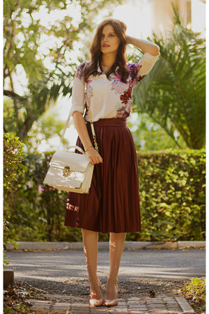 ivory Sheinside blouse - white Forever New bag - maroon Zara skirt