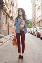 maroon ADL jeans - dark brown Zara hat - blue Sheinside jacket