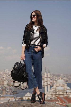 navy romwe jeans - black romwe jacket - white romwe top