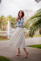 sky blue Ecugo blouse - white asos skirt - beige Zara heels