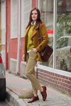 mustard Sheinside pants - army green Sheinside coat