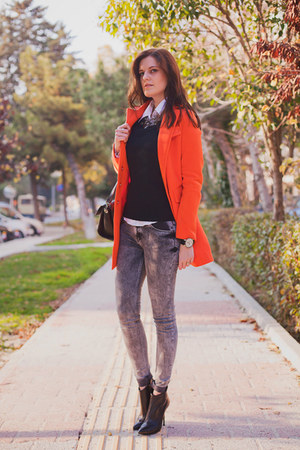 carrot orange Sheinside coat - heather gray Bershka jeans - black Zara bag
