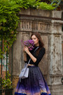 Periwinkle-rebecca-minkoff-bag-purple-chicwish-skirt-black-zara-sandals