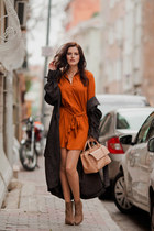 burnt orange AX Paris dress - dark brown H&M coat