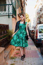 green Sheinside dress - black Zara heels