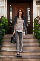 light purple PERSUNMALL sweater - heather gray Bershka jeans