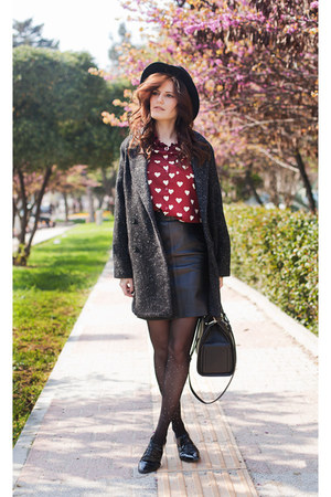 ruby red BangGood blouse - dark brown Mango coat