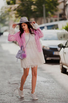 light pink DressLink cardigan - light purple Rebecca Minkoff bag