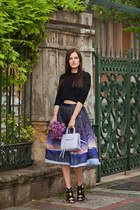 purple Chicwish skirt - periwinkle Rebecca Minkoff bag - black Zara sandals