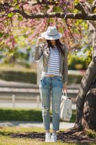 heather gray Choies jacket - blue Mango jeans