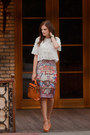 Brown-romwe-skirt-white-romwe-blouse