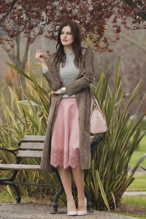 pink Chicwish skirt - heather gray Adamo coat - light pink Rebecca Minkoff bag